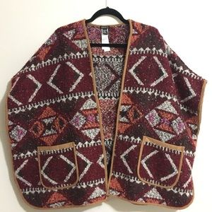 Forever 21 Geo Pattern Print Open Front Poncho